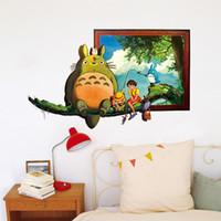 ingrosso arredamento totoro-Totoro Wall Sticker Poster PVC Totoro Wall Art Pittura per soggiorno Decorazione della parete Camera dei bambini Poster Decorazione artistica