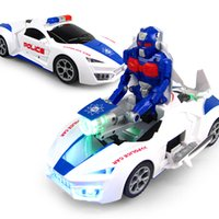 Wholesale police set toys for sale - Group buy New deformation police car electric universal deformation car with lights music degree rotating toys