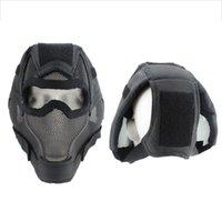 maske ağzı bisikleti toptan satış-Bisiklet Avcılık Tam Yüz Maskesi Nefes Darbeye Düşük Karbon Çelik Ağız Kulak Koruyucusu Açık Bisiklet Spor