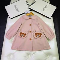 tipo de vestidos de meninas venda por atacado-Meninas vestido de crianças de roupas de grife bolso clássico urso fita decorativa linha de cintura tipo trench coat vestido de algodão material de tamanho 110-150