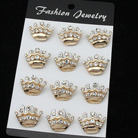 Wholesale wedding cake brooches for sale - Group buy Stunning Fashion Gold Alloy Small Crown Brooch Hot Selling Crystal Cake Pins Brooches For Decoration Exquisite Wedding Jewelry Pins