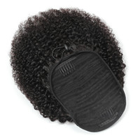 Peruvian Ponytails Afro Kinky Curly 100g set one piece Hair Extensions Ponytail Curly Wholesale Virgin Hairs 100% Human Hair