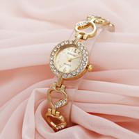 Wholesale heart shaped glasses diamonds resale online - Fashion love heart shape diamond alloy metal bracelet watches new popular lady female dress small dial quartz wrist watches