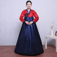 Wholesale clothes korea resale online - 2018 New Korea Style Dress for Women Elegant Party Clothing V neck Hanbok Traditional Ceremony Performance Clothes