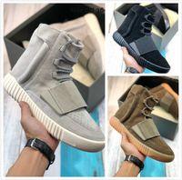 Wholesale top quality MEN WOMEN sport running shoes sneakers trainers Light Brown Grey Gum Triple Black sneaker trainer kanye west shoe high cut