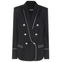 esmoquin negro al por mayor-Balmain Tuxedos negros Slim Fit Gold Pattern Trajes de Laple para mujer Balmain Party Cheap One Butto Suit
