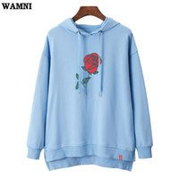 Wholesale rose bat for sale - Group buy WAMNI Hoodies Rose Print High Street Women Fashion Bat Print Pullovers Casual Apricot Blue Hooded Sweatshirt Outerwear