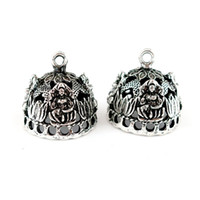 Wholesale carved lotus pendant resale online - 22843 Vintage Silver Hollow Buddha lotus Crown Hat Curve Carve Filigree Pendant Tassel Cap Bead Cap