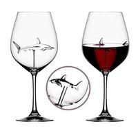 ingrosso bicchieri di vino rosso-Red bicchieri di vino - piombo titanio cristallo originale eleganza Shark bicchiere di vino rosso con Shark All'interno staccato lungo vetro