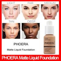 Wholesale cream liquid foundation resale online - Famous Brand Face Makeup Foundation PHOERA Matte Oil control Liquid foundation Colors Concealer DHL