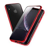 iphone arka çerçeve dolu toptan satış-Manyetik Adsorpsiyon Durumda Metal Çerçeve Ön ve Arka Temperli Cam Tam Vücut Koruyucu Kılıf iphone XS XR 8 7 6 S Artı