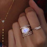 ingrosso antichi anelli di fidanzamento ovali-Anelli vintage per donne Crystal Big Stone Wedding Anello di fidanzamento Antique Cupper Oval Moonstone Anello in oro rosa Gioielli dichiarazione