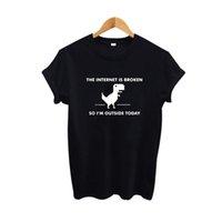 aussenseiter t shirts großhandel-Das T-Stück der Frauen das Internet ist gebrochen Lustige Geek Harajuku T-Shirts Schwarzes weißes Baumwollt-shirt der Frauen 2019 Mode-Druck-T-Shirt