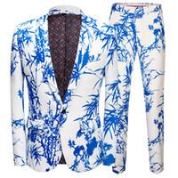 vestidos de dos piezas estilos hombres al por mayor-Traje para hombre, estilo chino, patrón de bambú, traje de dos piezas, traje (chaqueta + pantalón), banquete de bodas para hombres vestido informal