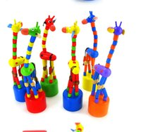 Wholesale wooden giraffe toys for sale - Kids Intelligence Toy Dancing Stand Colorful Rocking Giraffe Wooden toys Levert juguetes de madera for ChildernDropship