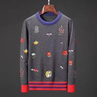 ingrosso pullover per l'inverno-Maglioni di design da uomo Pullover Maglione da uomo di marca Snake Embroidery Knitwear Designer a manica lunga Felpa Winter Mens Clothing Crew Neck