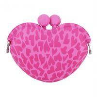 ключ держателя силиконовой карточки оптовых-Useful Girls Silica Gel Coin Purses Mini Heart Silicone Clip Key Coin Holder Purses Cartoon Card Holder Key Money Bags for Kids