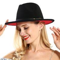 sombrero de ala roja ancho al por mayor-Fedora para hombres o mujeres Patchwork de jazz negro rojo con cinturón de cuero Fieltro de lana Fedora Sombrero de Panamá de ala ancha para festival