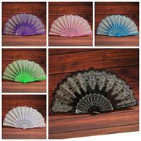 çince el yelpazesi dansı toptan satış-Katlanır El Çiçek Fan 9 Renk Yaz Çin / İspanyolca Stil Dans Düğün Dantel Renkli Hayranları Parti Favor OOA6938