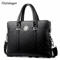 Wholesale white briefcase men for sale - Group buy Men Business Briefcase Leather Handbag New Design Coded Lock Shoulder Crossbody Bag Male Messenger Double Layers Anti theft Bags