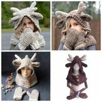 Wholesale crochet baby gloves resale online - Elk Hooded Hat Scarf Gloves in Baby Warm Knitting Caps Christmas Gift kids Hat Glove Set Crocket Hat sets OOA5988