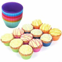 Wholesale baking tray cupcakes resale online - PVC Box Muffin Cupcake Mould Round Shape Silicone Case Bakeware Maker Mold Tray Baking Cup Liner Baking Molds MMA1408
