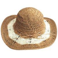 häkeln sommerhüte großhandel-Band Neue Frauen Häkeln Hohlkuppel Sommer Hüte Für Frauen Mesh Strohhut Faltbare Sonnenhut Fashion Beach Sombrero