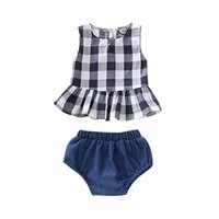 Wholesale kids sleeveless denim tops for sale - Group buy Baby Vest Shorts Suit Kids Designer Clothing Girls Square Ruffle Vest Tops Solid Denim PP Shorts Infant Outfits Toddler Girl Clothing Set
