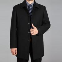 coreano moda masculina jaqueta venda por atacado-Moda Casual Longo mistura de lã Brasão Mens Long Sleeve Turn Down Collar Jacket Men Masculino Brasão coreano Moda Sólidos Magro