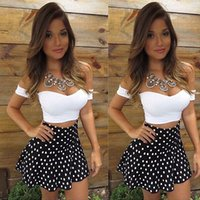 Wholesale sexy hot low cut dress for sale - Group buy 2016 New Hot Sale Dot Women Sets Sexy Women Low Cut Short Sleeve Bodycon Dress Sets Patry Club wear Sexy Short Mini Dress