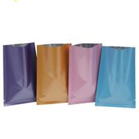 vakumlu ısı yalıtım torbaları toptan satış-8 * 12 cm renkli üstü açık alüminyum folyo mylar çanta vakum vana ısı mühür paketi çanta ısı mühür güç ambalaj çanta