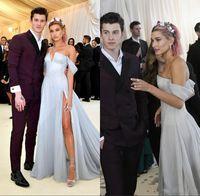 Wholesale prom dress short slit resale online - Hailey Baldwin Sky Blue Prom Dresses Off Shoulder Slit Cheap Formal Gowns With High Slit African Evening Celebrity Dress Custom Made
