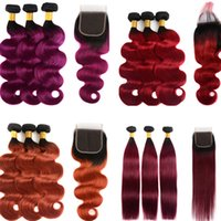 Wholesale dyed indian weave resale online - Ombre Brazilian Hair Weaves With X4 Lace Closure Human Hair Bundles Peruvian Indian Malaysian Remy Hair Extensions