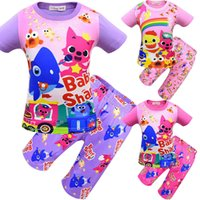 Wholesale trouser sets online - 8 Style Boys Girls baby shark Pajamas New Children baby shark Short sleeve T shirt Five points trousers sets Suits MMA1455