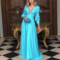 Wholesale long evening simple skirt dress resale online - Simple Deep V Neck Blue Evening Dresses Long Sleeve Ruffles Chiffon A Line Prom Dress Floor Length Ladies Daily Skirt