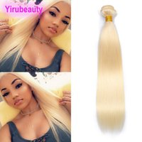 Wholesale brazilian remy human hair extensions resale online - Brazilian Indian Human Hair Blonde One Bundle Pieces Straight Human Hair Extensions Double Wefts Weaves Straight Bundle inch