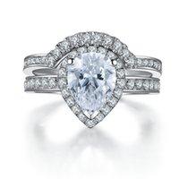ingrosso pere placcate in argento-Anelli a forma di due anelli Set da donna con diamanti sintetici taglio a goccia 2Ct Anelli Anello in argento sterling 925 placcato oro bianco