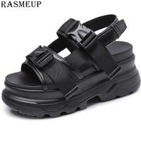 sohle pu sandale großhandel-RASMEUP Leder Plateau Sandalen Frauen 2019 Sommer frauen Chunky Schuhe Mode Schnalle Dicken Sohlen Lässig Frau Strand Sandale