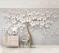 цветы потолочные оптовых-Элегантный белый цветок обои роскошные ювелирные изделия 3D пользовательские настенная роспись стены для свадебного номера ТВ фон потолок спальня гостиная