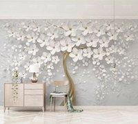 çiçekler tavan toptan satış-Zarif Beyaz çiçek Duvar Kağıdı Lüks takı 3D Özel Duvar Duvar Duvar Boyama Düğün Odası TV Arkaplan Tavan Yatak Odası salon için