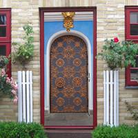 pegatinas de pared removibles islámicos al por mayor-2 Unids / set 3D Musulmán Retro Etiqueta de La Puerta Islámica Ramadán Decoración Puerta Creativa Impermeable Extraíble Etiqueta de La Pared