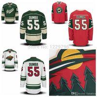 ingrosso porcellana autentica pullover hockey-2016 Matt Dumba Minnesota Wild Hockey maglie New White Green Red Authentic # 55 Matt Dumba cucita Jersey Migliore qualità Cina