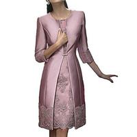 saten elbiseli dantel ceket toptan satış-Zarif Kılıf Kısa Anne Resmi Ceket Ile Giymek Akşam Saten Dantel parti Düğün Konuk Elbise Anne Gelin Elbise Suit törenlerinde