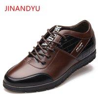 модные ботинки лифта оптовых- Fashion Height Increasing 6CM Mens Leather Shoes Casual Male Invisible Elevator Shoes Man High Quality Comfortable Oxfords