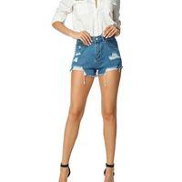 luzes de rua venda por atacado-Mulheres de Alta Qualidade Verão Denim Shorts Oco Out Buraco de Cintura Alta Luz de Rua Azul Club Casual Rasgado Shorts Estilo Coreano