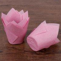 kekler için pişirme kağıdı toptan satış-50 adet Kağıt Lale çiçek Çikolata Cupcake Sarıcı dekorasyon Pişirme Muffin kağıt astar kalıp tutucu tek fırında kek wrap Ücretsiz kargo