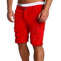 kovboy kot delikleri toptan satış-HEFLASHOR Yeni Yaz Erkek Delik Kısa Jeans Erkekler pamuk Moda Sıcak Satış kovboy Pantolon Erkekler Casual Kot Şort Pantolon gerer