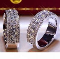 Wholesale brilliant diamonds for sale - Group buy Brilliant Solid Sterling Silver Wedding Anniversary Round Lovers SONA Diamond Ring Engagement BAND Fine Jewelry Men Women Fan Gift