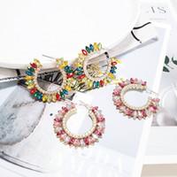 aretes brillantes coreanos al por mayor-2019 Bohemia Fashion Crystal Hoop Earring For Women Shiny Wedding Bridal Jewelry Gift Bohemian Korean Statement Earrings Party