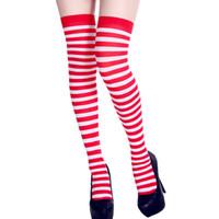 ingrosso calze abito caldo-2019 Hot New Women Stampa a righe lunghe calze al ginocchio Fancy Dress Party Divertente Dress Up Puntelli calze al ginocchio Calze femminili lungo